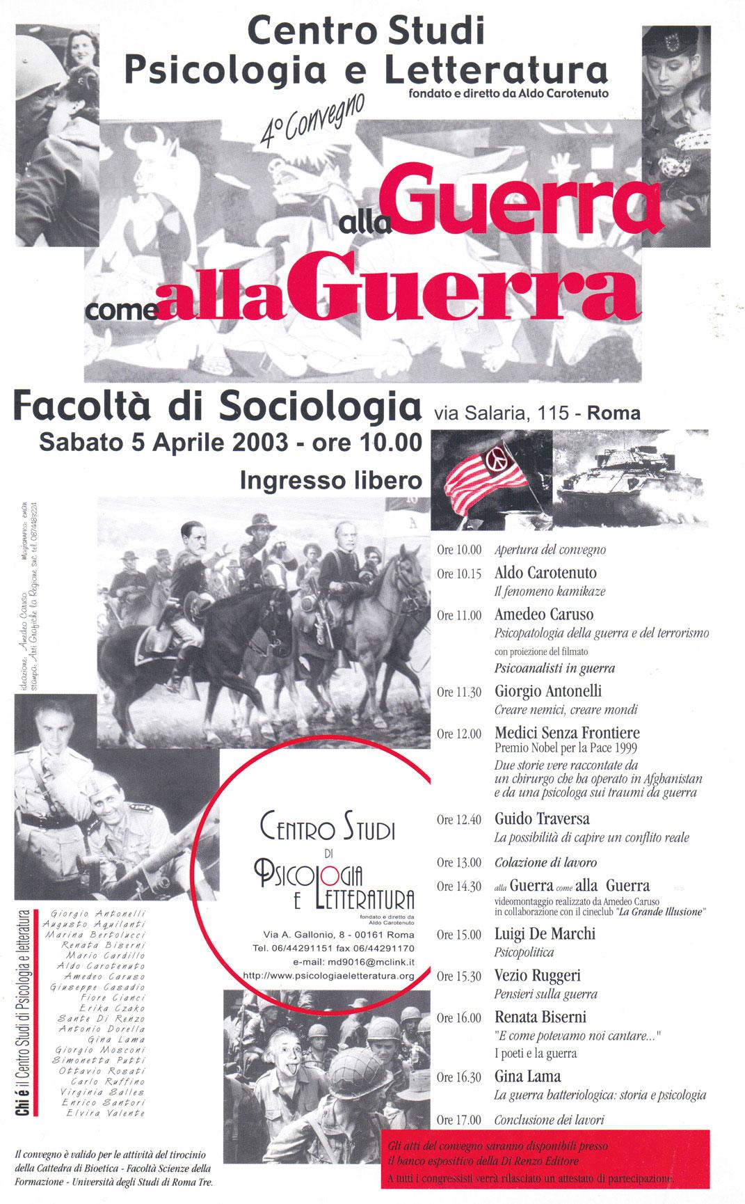 4° Convegno – 2003 – Guerra alla guerra