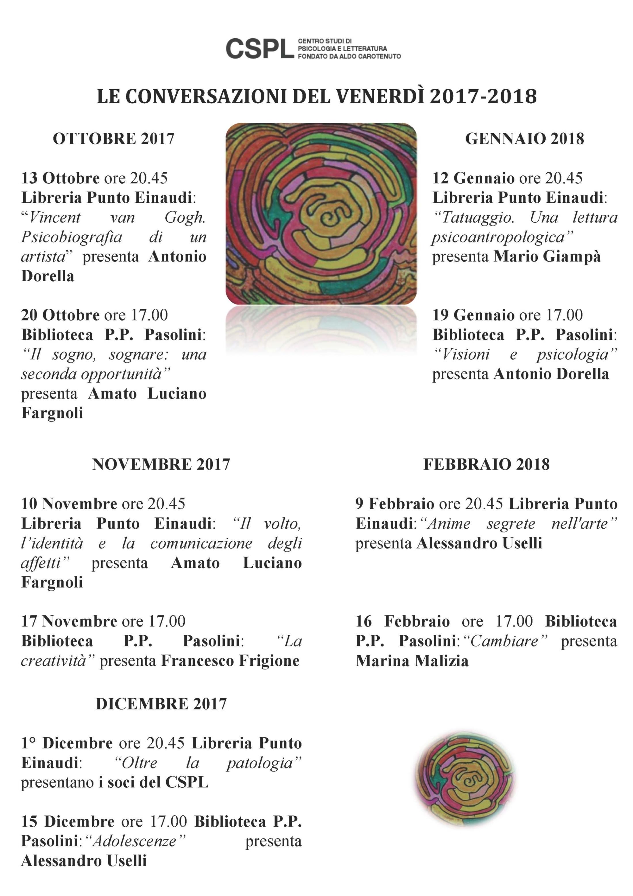 Le Conversazioni del Venerdì 2017-2018