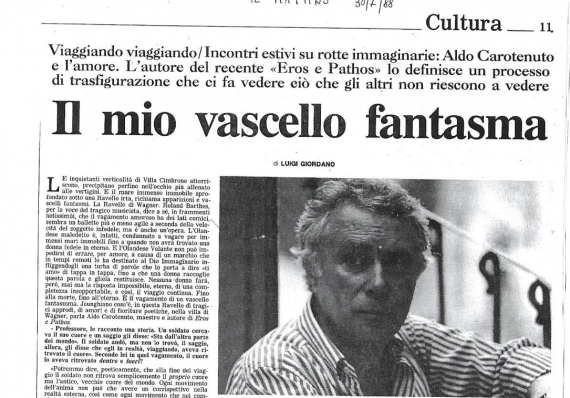 Aldo Carotenuto e l'amore.  Il mio vascello fantasma