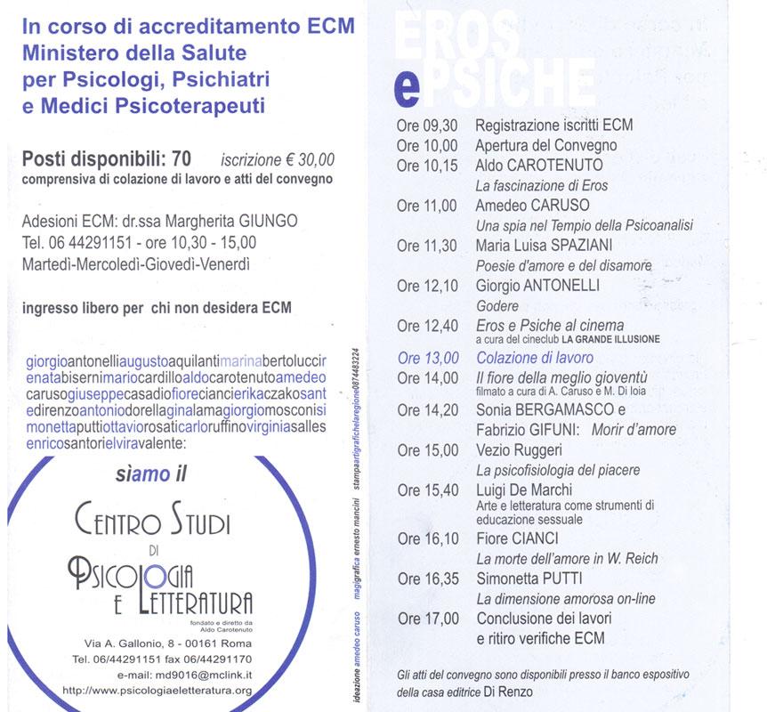 5° Convegno – 2004 – Eros e Psiche