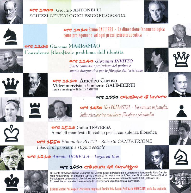 9° Convegno – 2008 – Dalla maieutica al transfert. Consulenza filosofica e psicoterapia a confronto